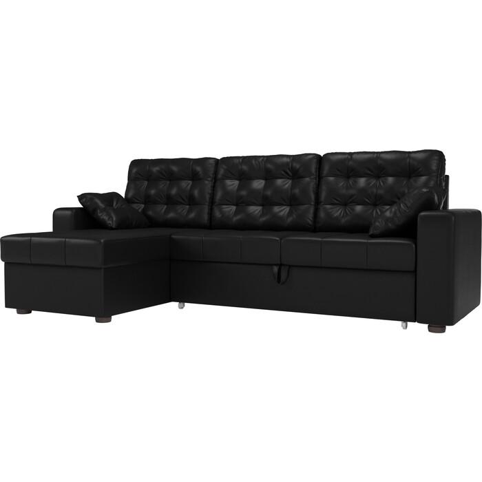цена Угловой диван Мебелико Камелот эко-кожа черный левый угол онлайн в 2017 году