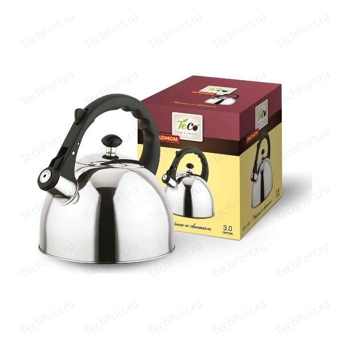 Чайник 3.0 л со свистком Teco (TC-118) чайник teco tc 106 r серебристый красный 3 л нержавеющая сталь