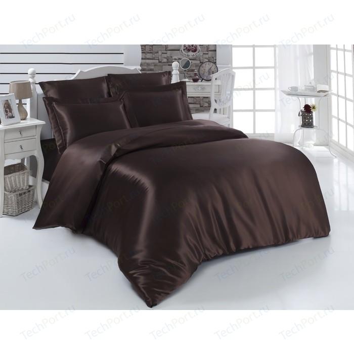 Комплект постельного белья Karna 2-х сп, шелк, Arin коричневый (1987/CHAR005)