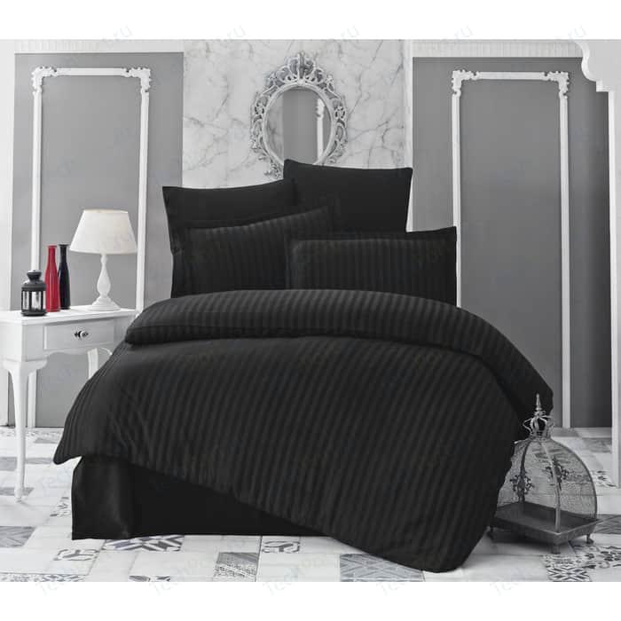 Комплект постельного белья Karna 2-х сп, бамбук, Perla черный (814/CHAR008)