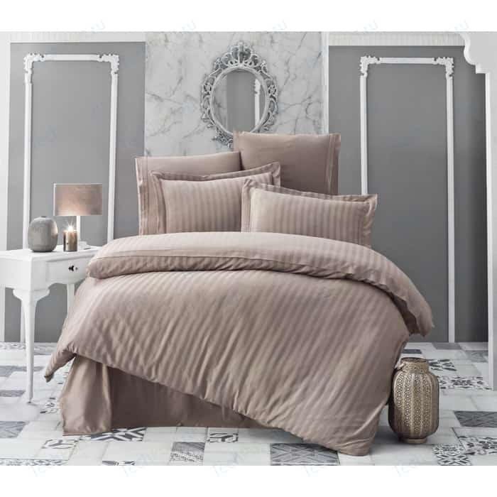 Комплект постельного белья Karna 2-х сп, бамбук, Perla кофейный (814/CHAR015) комплект постельного белья karna 2 х сп бамбук perla синий 814 char014