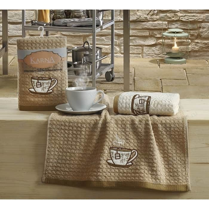 Набор кухонных полотенец Karna Lemon 45x65 2 штуки коричневый V2 (2228/CHAR002)