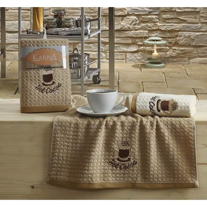 Набор кухонных полотенец Karna Lemon 45x65 2 штуки коричневый V4 (2228/CHAR004)