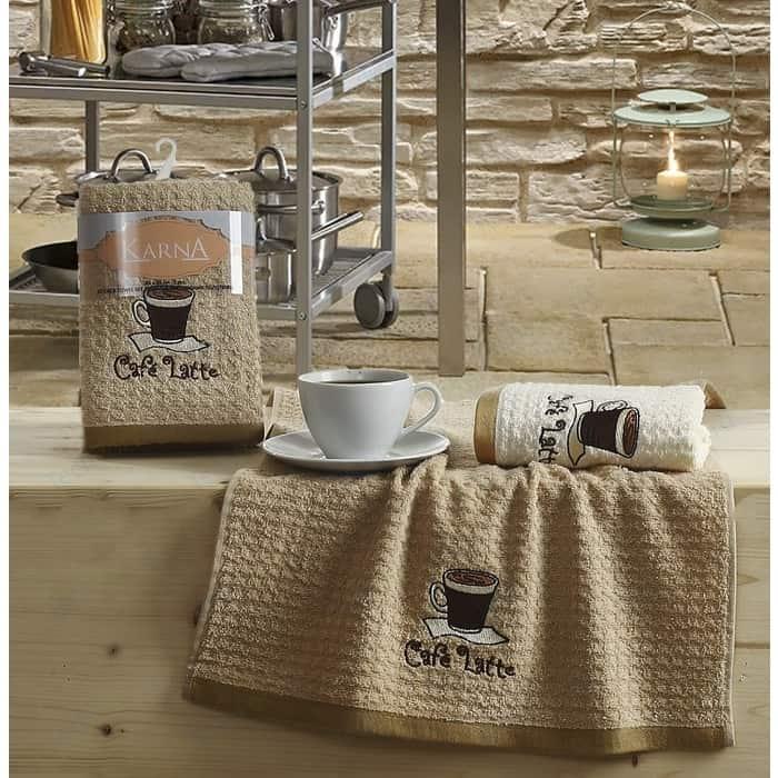Набор кухонных полотенец Karna Lemon 45x65 2 штуки коричневый V1 (2228/CHAR001)