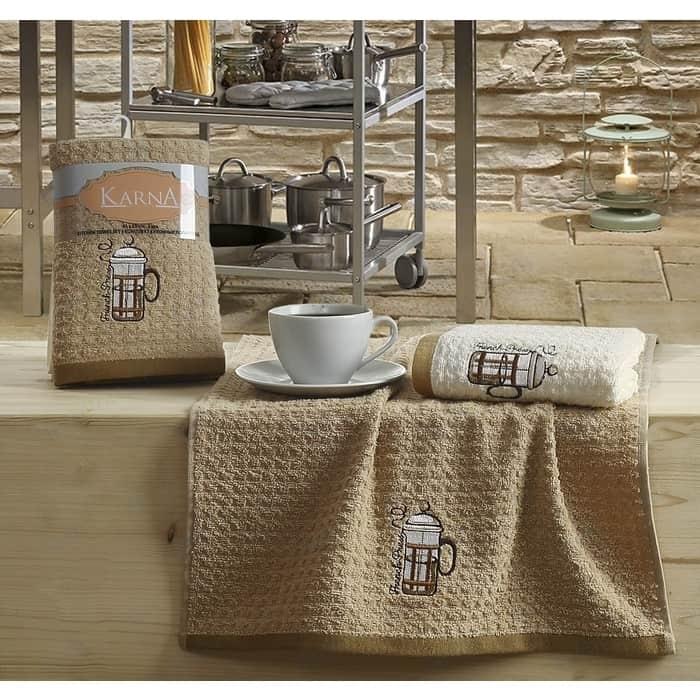 Набор кухонных полотенец Karna Lemon 45x65 2 штуки коричневый V5 (2228/CHAR005)