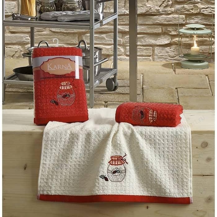 Набор кухонных полотенец Karna Lemon 45x65 2 штуки красный V3 (2229/CHAR003)