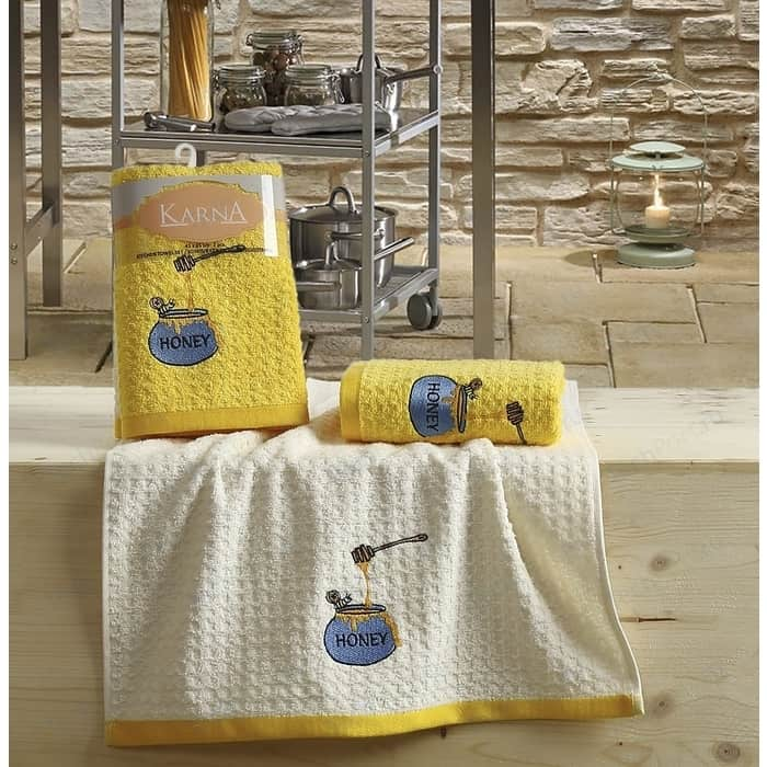 Набор кухонных полотенец Karna Lemon 45x65 2 штуки желтый V3 (2231/CHAR003)