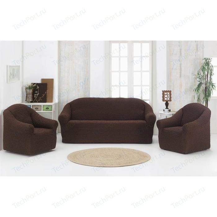 Набор чехлов для мягкой мебели 3 предмета Karna коричневый (1780 /CHAR006)