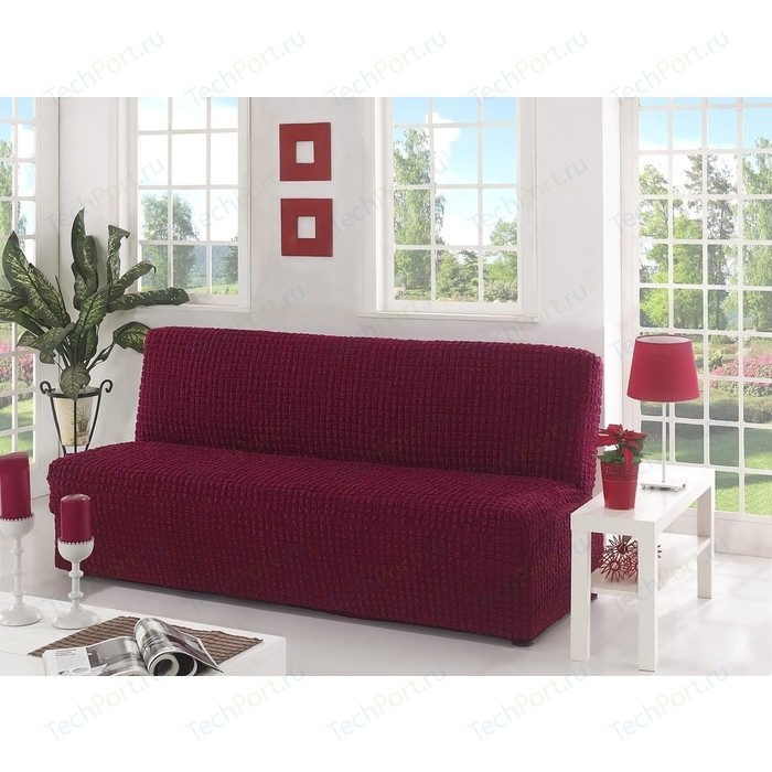 Чехол для двухместного дивана без подлокотников Karna бордовый (2650/CHAR002)