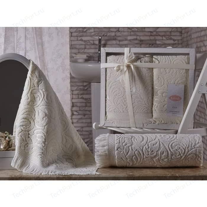 Набор из 2 полотенец Karna Esra (50X90/70x140) кремовый (1687/CHAR004) набор из 2 полотенец karna elinda 50x90 70x140 1826 char002 бежевый