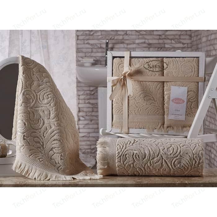 Набор из 2 полотенец Karna Esra (50X90/70x140) бежевый (1687/CHAR002) набор из 2 полотенец karna elinda 50x90 70x140 1826 char002 бежевый