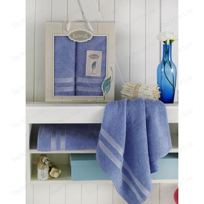 Набор из 2 полотенец Karna Petek (50x100-1/70x140-1) голубой (2040/CHAR003) ремни petek 04004611 046 kd1