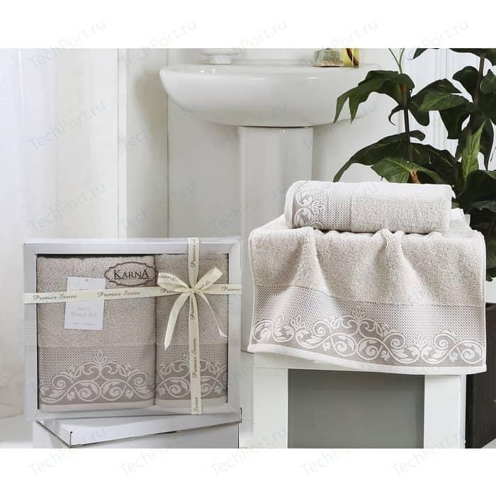 цена Набор из 2 полотенец Karna Beyza (50X90/70x140) стоне (2410/CHAR006) онлайн в 2017 году