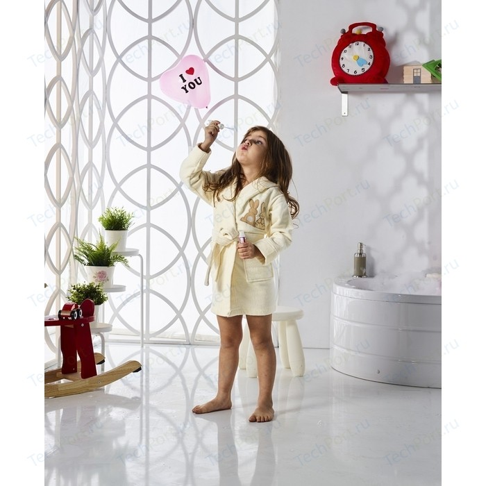 Халат детский Karna велюр с капюшоном Snop 2-3 Лет кремовый (2820/CHAR003)