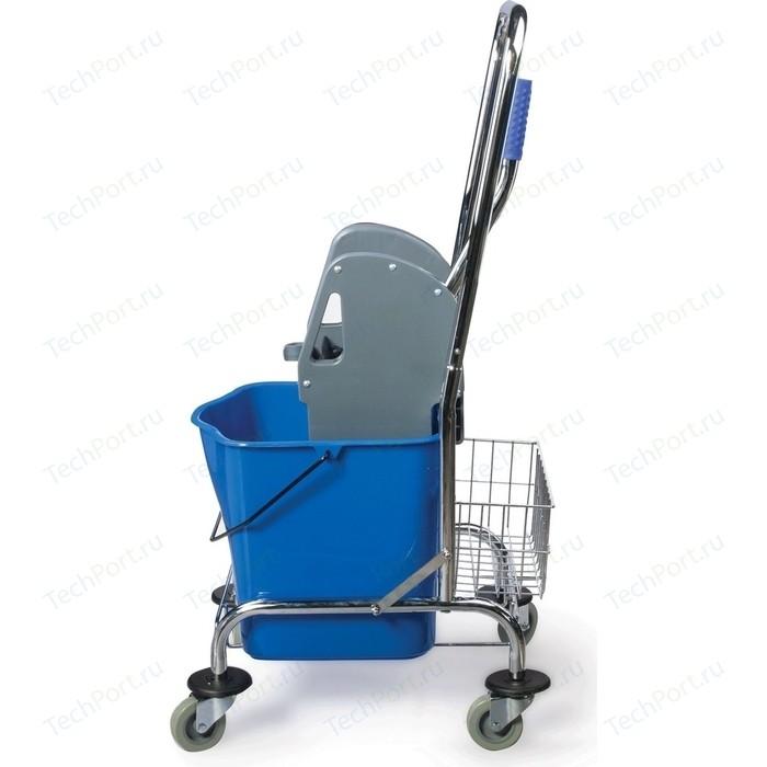 Тележка уборочная Лайма Проф 1 съемное ведро 25л механический отжим, корзина, металлический каркас синяя 601498