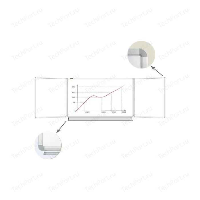 Доска магнитно-маркерная BRAUBERG 100x150/300 см 3-х элементная белая 231708