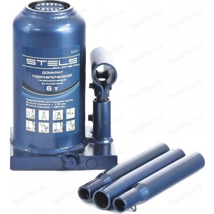 Домкрат гидравлический бутылочный телескопический Stels 6т 170-420мм (51117)