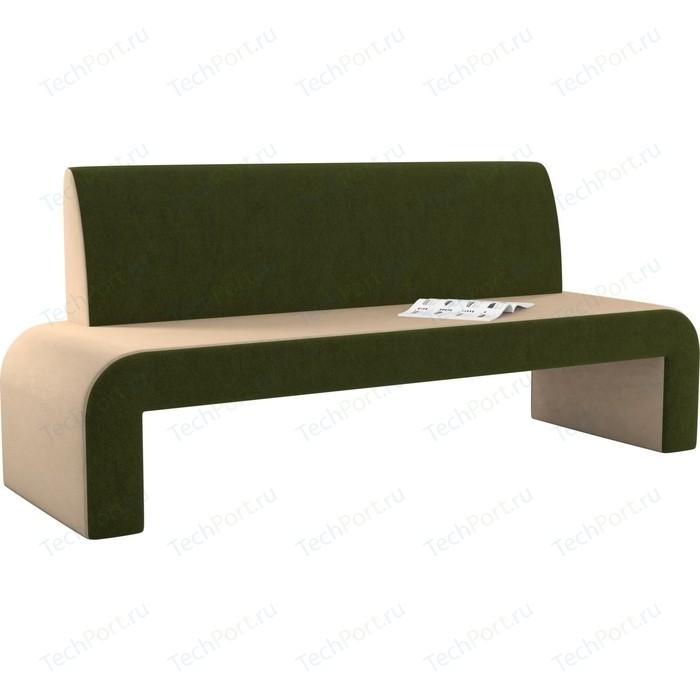 Кухонный диван Мебелико Кармен микровельвет бежево-зеленый