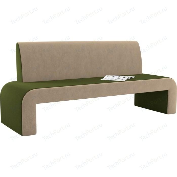 Кухонный диван Мебелико Кармен микровельвет зелено-бежевый