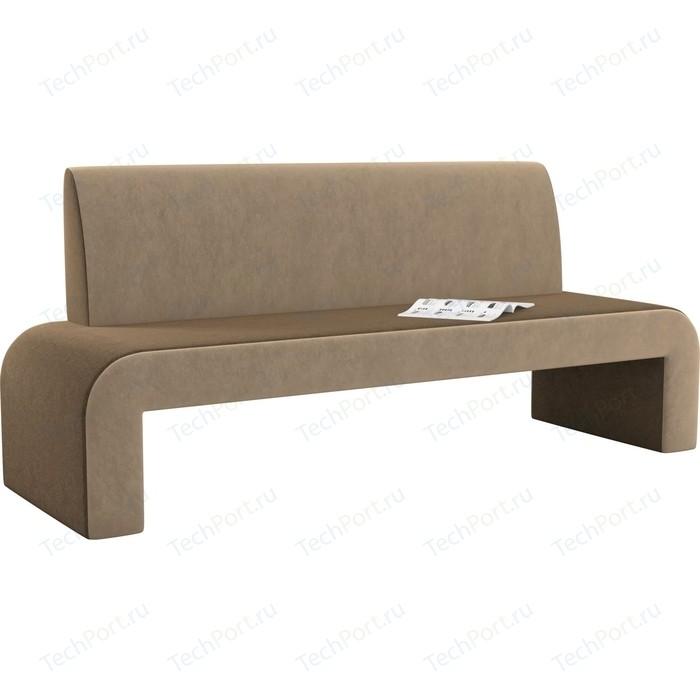 Кухонный диван Мебелико Кармен микровельвет коричнево-бежевый