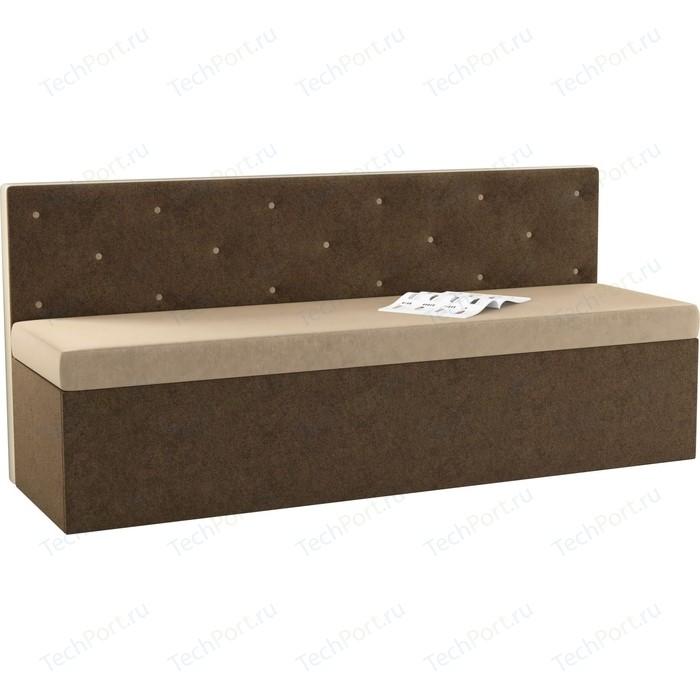 Фото - Кухонный диван Мебелико Салвадор микровельвет бежево-коричневый кухонный угловой диван мебелико салвадор микровельвет бежево коричневый правый угол