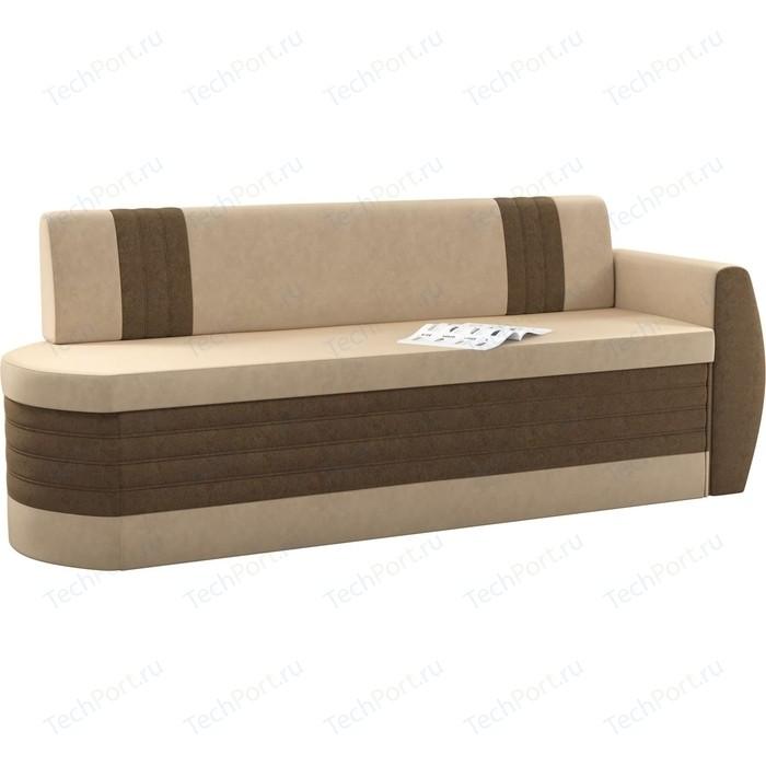 Фото - Кухонный диван Мебелико Токио ОД микровельвет бежево-коричневый правый кухонный угловой диван мебелико салвадор микровельвет бежево коричневый правый угол