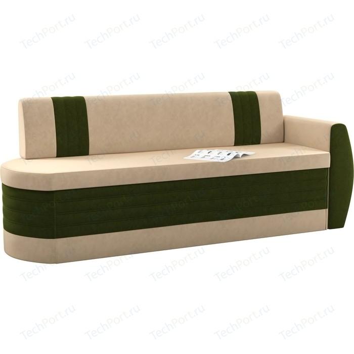 Кухонный диван Мебелико Токио ОД микровельвет бежево-зеленый правый
