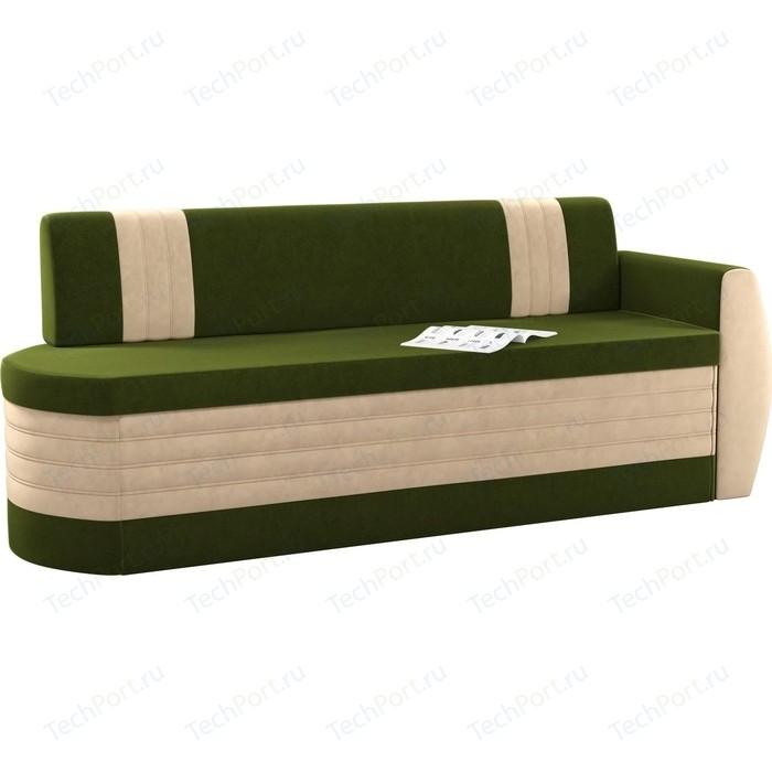 Фото - Кухонный диван Мебелико Токио ОД микровельвет зелено-бежевый правый диван еврокнижка мебелико пазолини микровельвет зелено бежевый
