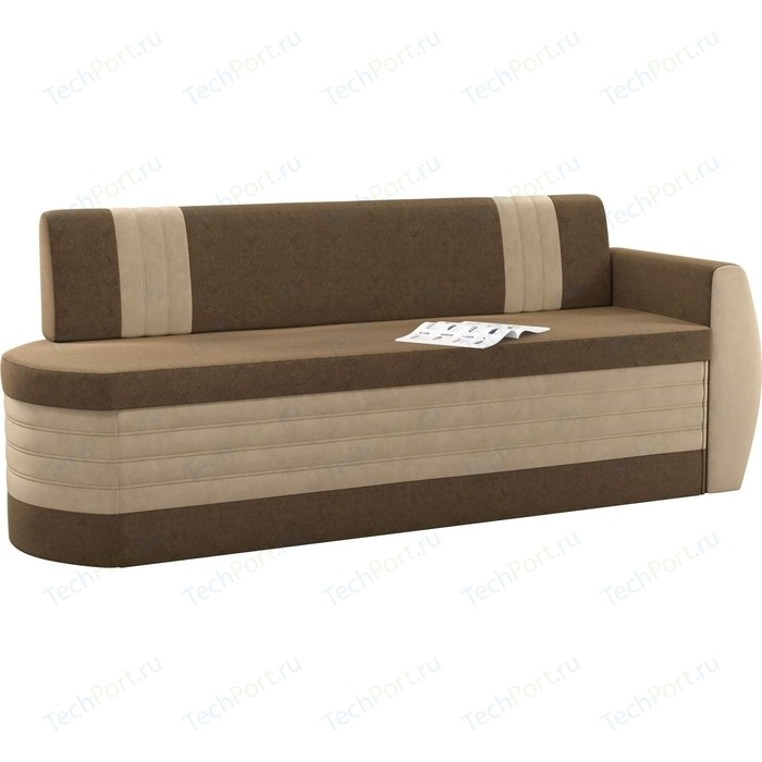 Кухонный диван Мебелико Токио ОД микровельвет коричнево-бежевый правый