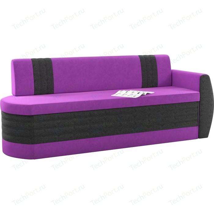 Кухонный диван Мебелико Токио ОД микровельвет фиолетово-черный правый