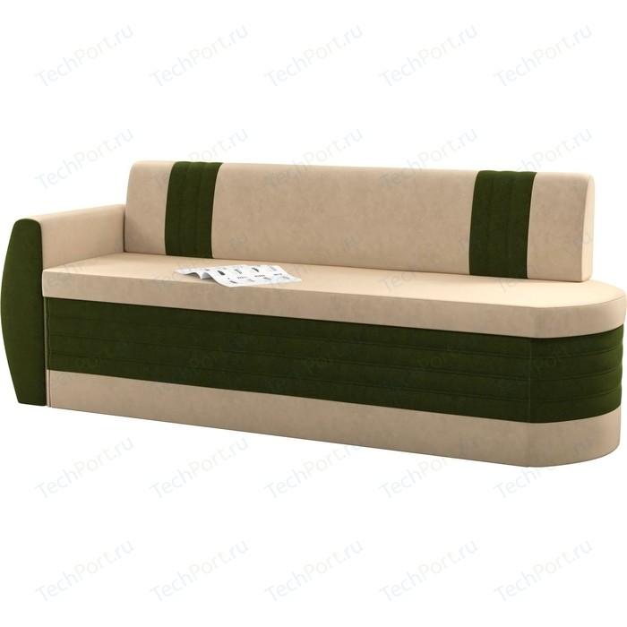 Кухонный диван Мебелико Токио ОД микровельвет бежево-зеленый левый