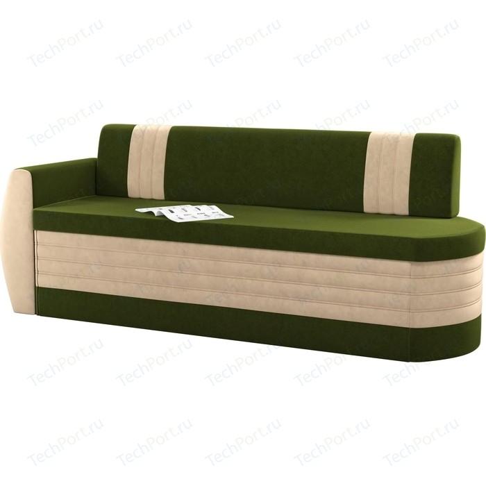 Кухонный диван Мебелико Токио ОД микровельвет зелено-бежевый левый