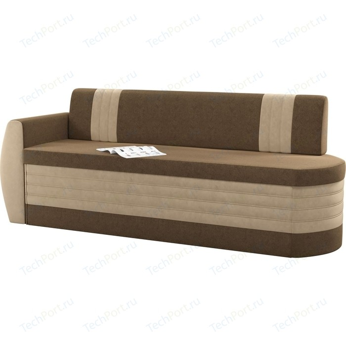 Кухонный диван Мебелико Токио ОД микровельвет коричнево-бежевый левый
