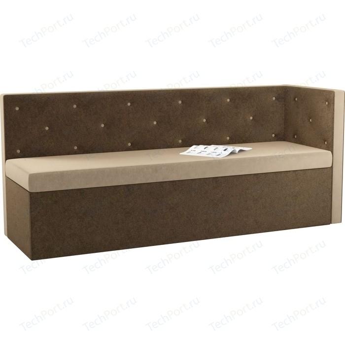 Фото - Кухонный угловой диван Мебелико Салвадор микровельвет бежево-коричневый правый угол кухонный угловой диван мебелико салвадор микровельвет бежево коричневый правый угол