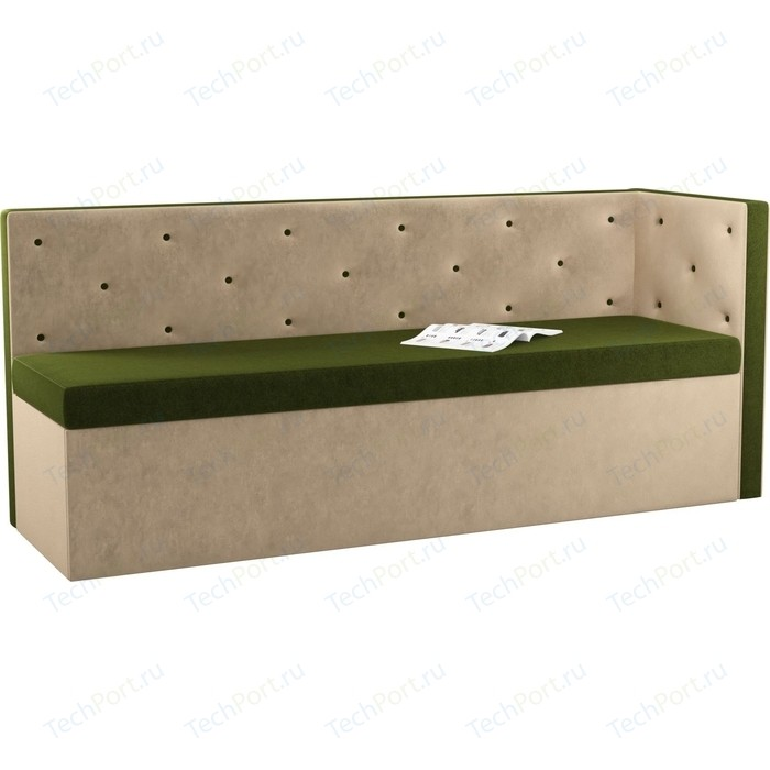 Фото - Кухонный угловой диван Мебелико Салвадор микровельвет зелено-бежевый правый угол кухонный угловой диван мебелико салвадор микровельвет бежево коричневый правый угол