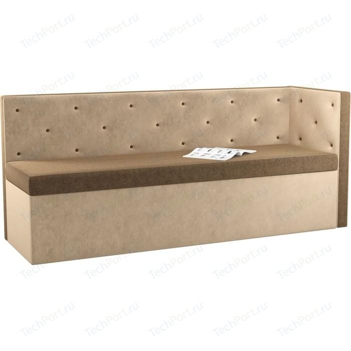 Фото - Кухонный угловой диван Мебелико Салвадор микровельвет коричнево-бежевый правый угол кухонный угловой диван мебелико салвадор микровельвет бежево коричневый правый угол