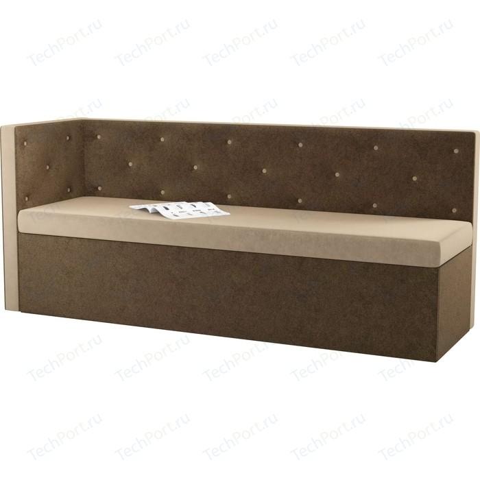 Фото - Кухонный угловой диван Мебелико Салвадор микровельвет бежево-коричневый левый угол кухонный угловой диван мебелико салвадор микровельвет бежево коричневый правый угол