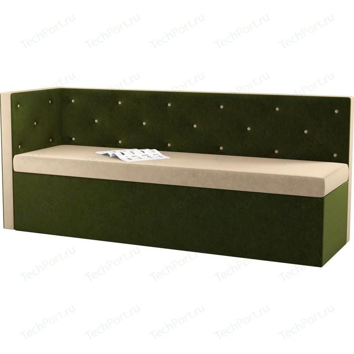 Фото - Кухонный угловой диван Мебелико Салвадор микровельвет бежево-зеленый левый угол кухонный угловой диван мебелико салвадор микровельвет бежево коричневый правый угол