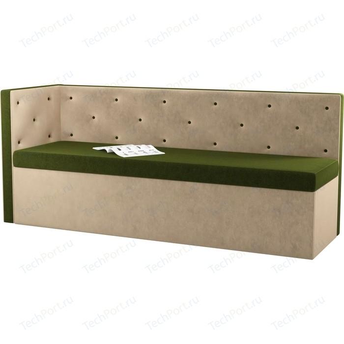 Кухонный угловой диван АртМебель Салвадор микровельвет зелено-бежевый левый угол кухонный угловой диван артмебель салвадор микровельвет бежево зеленый левый угол