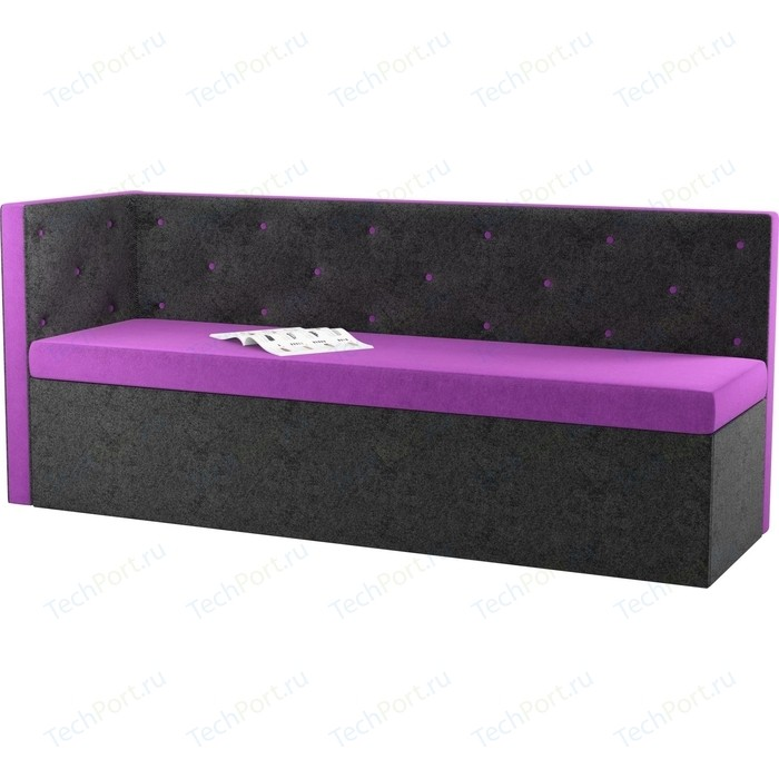 Кухонный угловой диван АртМебель Салвадор микровельвет фиолетово-черный левый угол кухонный угловой диван артмебель салвадор микровельвет бежево зеленый левый угол