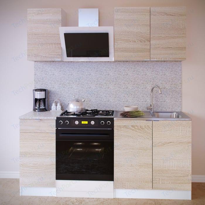 Кухня СОКОЛ ПН-04 белый/дуб сонома +ТК-04.1 белый/дуб сонома + ПН-08 белый/дуб сонома + ТК-08м белый/дуб сонома стеллажи дуб сонома