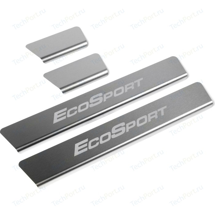 накладки на пороги ecosport Накладки на пороги Rival для Ford Ecosport (2014-н.в.), нерж. сталь, с надписью, 4 шт., NP.1809.3