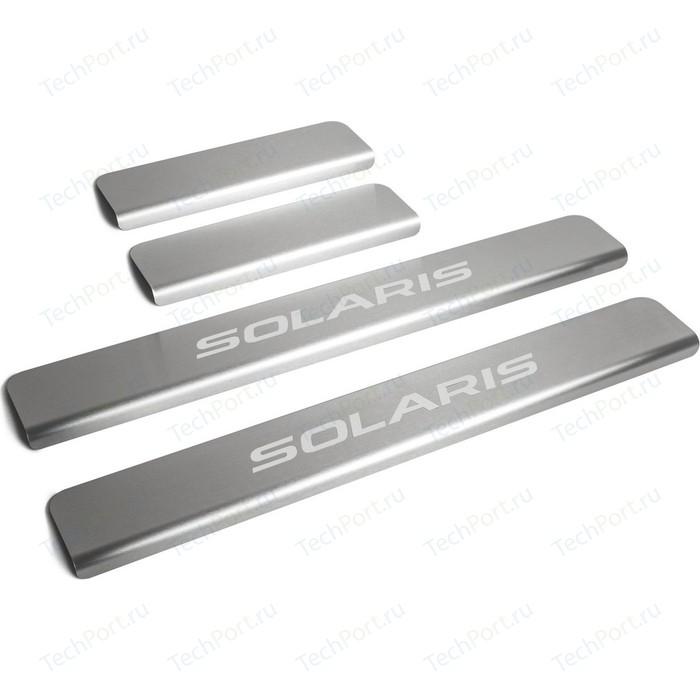 Накладки на пороги Rival для Hyundai Solaris I (2011-2016), нерж. сталь, с надписью, 4 шт., NP.2301.3