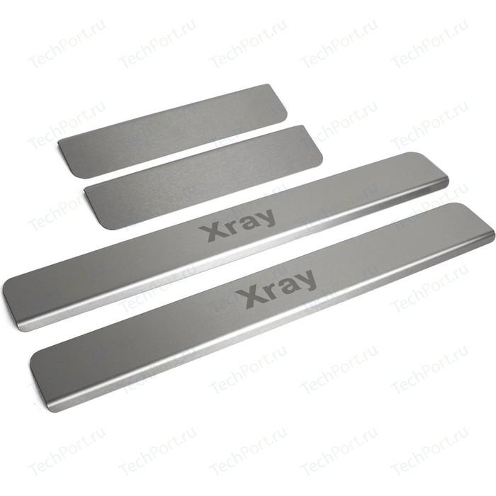 Накладки на пороги Rival для Lada Xray хэтчбек, Cross (2016-2018 / 2018-н.в.), нерж. сталь, с надписью, 4 шт., NP.6008.3