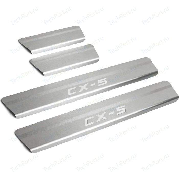 Накладки на пороги Rival для Mazda CX-5 II (2017-н.в.), нерж. сталь, с надписью, 4 шт., NP.3804.3