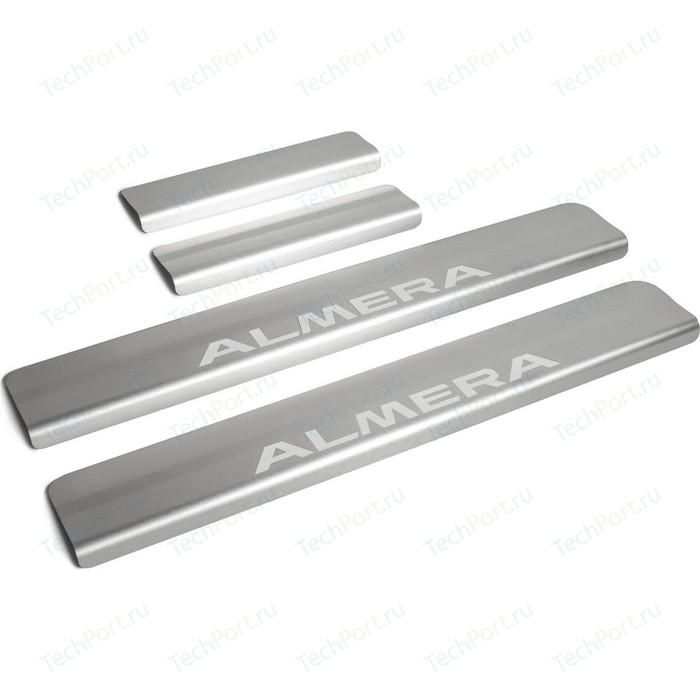 Накладки на пороги Rival для Nissan Almera G15 (2013-2018), нерж. сталь, с надписью, 4 шт., NP.4104.3