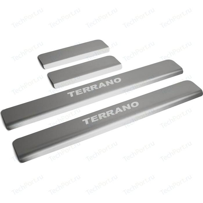 Накладки на пороги Rival для Nissan Terrano III (2014-н.в.), нерж. сталь, с надписью, 4 шт., NP.4115.3