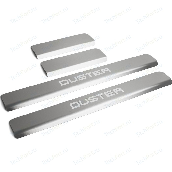 Накладки на пороги Rival для Renault Duster I (2010-н.в.), нерж. сталь, с надписью, 4 шт., NP.4703.3