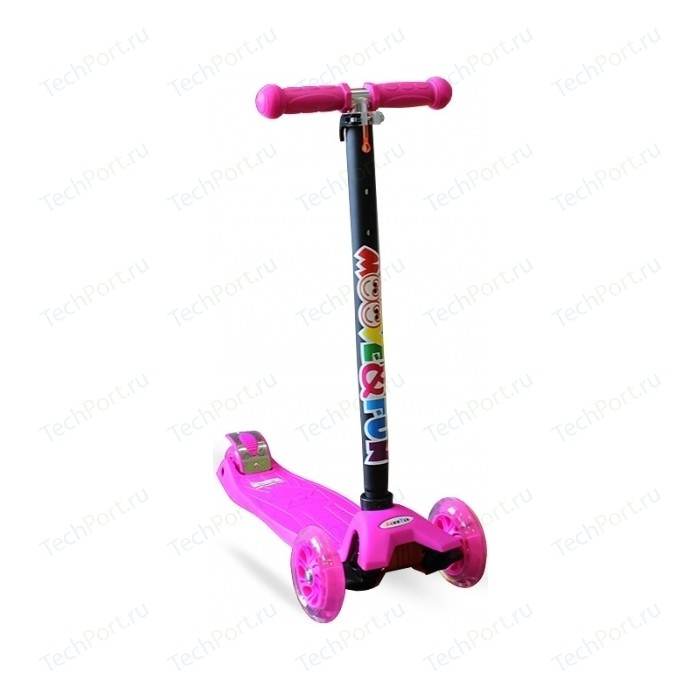 Самокат Moove&Fun четырехколесный MAXI LED розовый