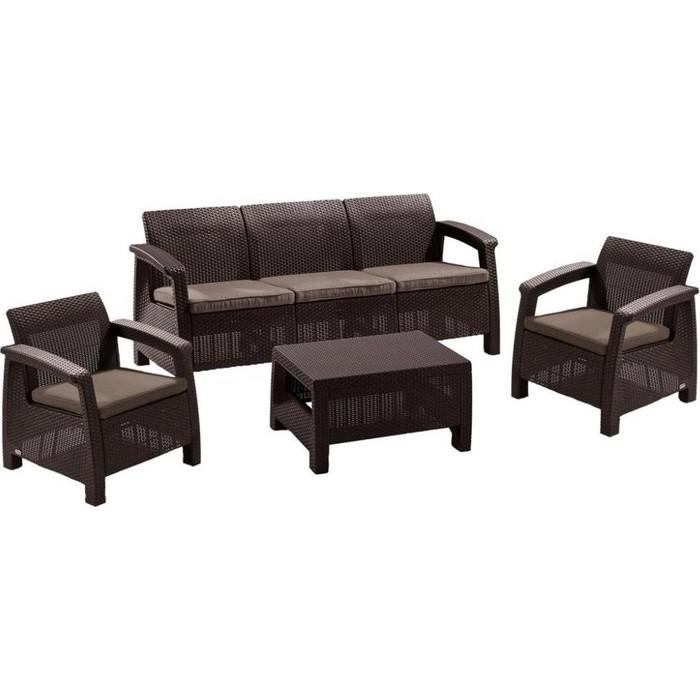 цена на Комплект мебели с диваном Afina garden Yalta 3set AFM-1030A brown (имитация ротанга) 5Pcs